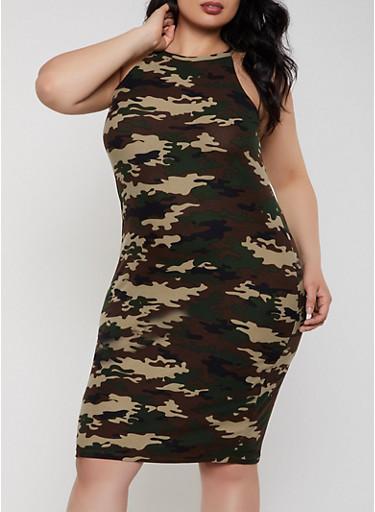 Plus Size Soft Knit Camo Dress,OLIVE,large