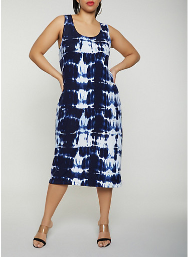 Plus Size Tie Dye Soft Knit Tank Dress,NAVY,large