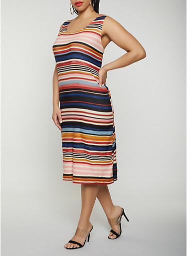 Plus Size Striped Tank Dress | 0390038349044,MULTI COLOR,large
