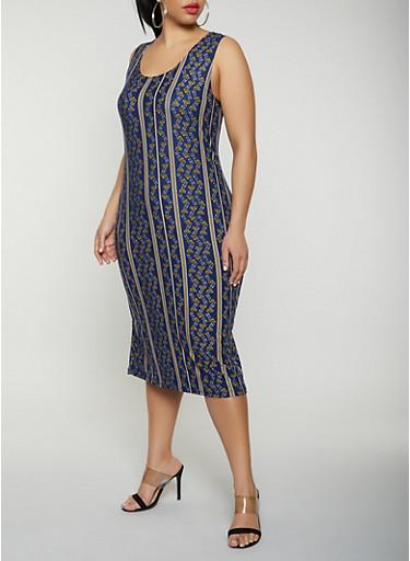 Plus Size Flower Print Tank Dress,NAVY,large