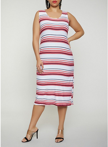 Plus Size Striped Tank Dress | 0390038349046,WHITE,large