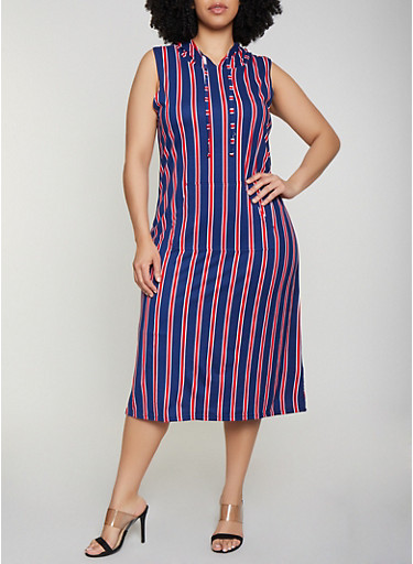 Plus Size Striped Hooded Midi Dress,NAVY,large