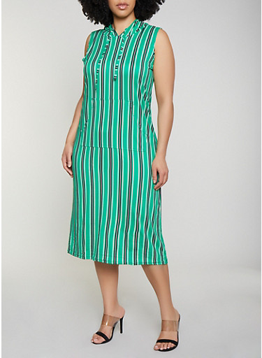 Plus Size Soft Knit Striped Hooded Tank Dress,KELLY GREEN,large
