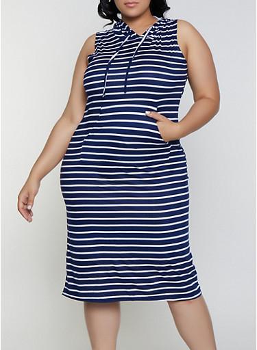 Plus Size Striped Soft Knit Midi Dress,NAVY,large