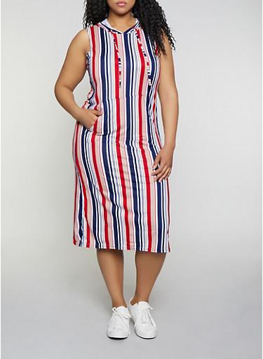 Plus Size Hooded Midi Dress,NAVY,large