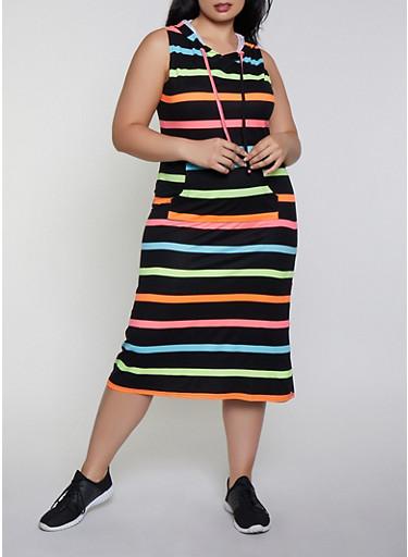 Plus Size Neon Stripe Hooded Tank Dress,BLACK,large