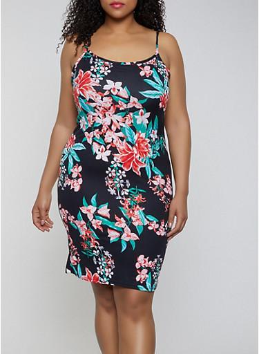 Plus Size Soft Knit Floral Cami Dress,BLACK,large