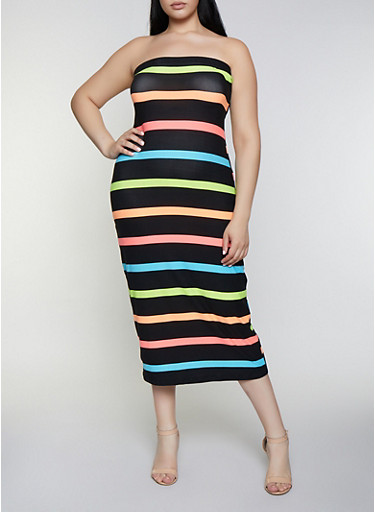 Plus Size Striped Tube Midi Dress,BLACK,large