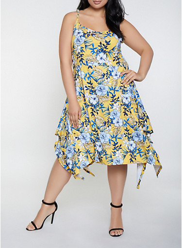 Plus Size Floral Asymmetrical Hem Skater Dress,YELLOW,large