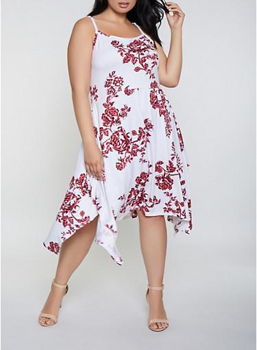 Plus Size Floral Sleeveless Sharkbite Dress,IVORY,large