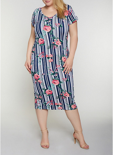Plus Size Laser Cut Back Floral Striped Dress,BLUE,large