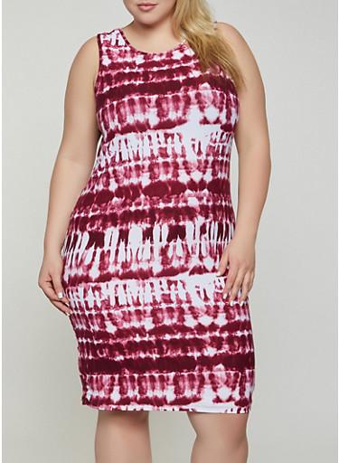 Plus Size Soft Knit Tie Dye Tank Dress,WINE,large