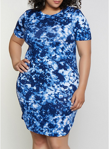 Plus Size Tie Dye Soft Knit T Shirt Dress,BLUE,large