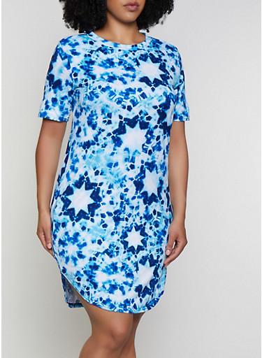 Plus Size Tie Dye Star Print T Shirt Dress,BLUE,large
