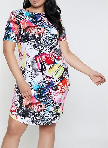 Plus Size Magazine Print T Shirt Dress,MULTI COLOR,large