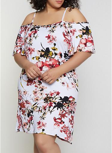 Plus Size Floral Soft Knit Cold Shoulder Dress,IVORY,large