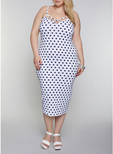 Plus Size Caged Neck Polka Dot Dress,WHITE,large