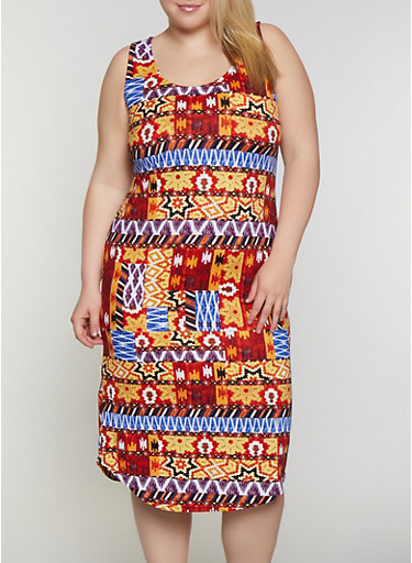 Plus Size Mixed Print Midi Tank Dress,RUST,large