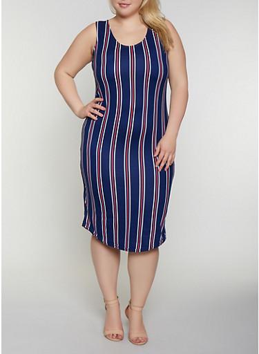 Plus Size Soft Knit Striped Midi Tank Dress,NAVY,large