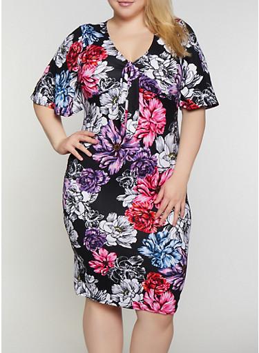 Plus Size Floral Soft Knit Empire Waist Dress,BLACK,large