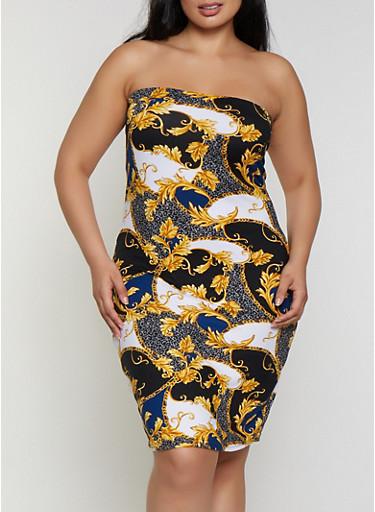 Plus Size Baroque Print Tube Dress   0390038349481,BLACK,large