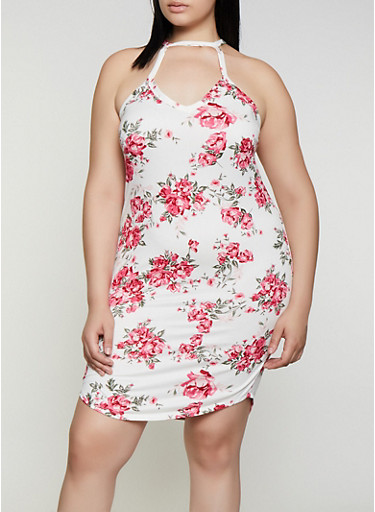 Plus Size Floral High Neck Bodycon Dress,IVORY,large