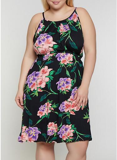 Plus Size Cinched Waist Floral Dress,BLACK,large
