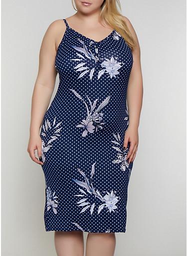 Plus Size Polka Dot Floral Cami Dress