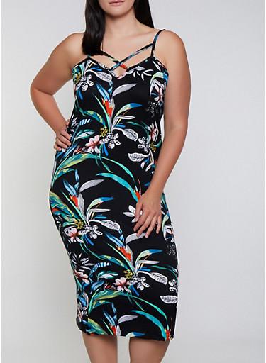 Plus Size Floral Caged Neck Cami Dress,BLACK,large