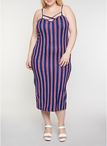 Plus Size Striped Caged Cami Dress,NAVY,large