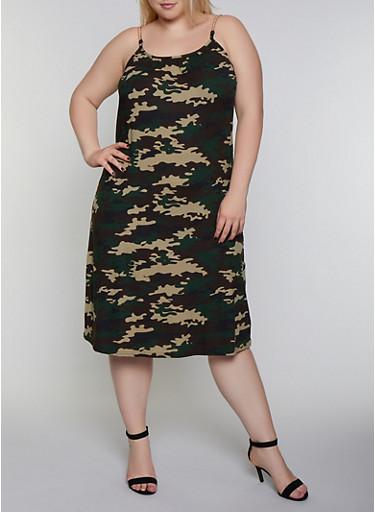 Plus Size Camo Chain Strap Cami Dress,OLIVE,large