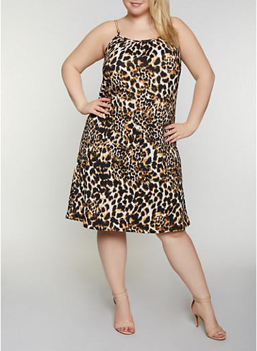 Plus Size Chain Strap Leopard Midi Dress,BROWN,large