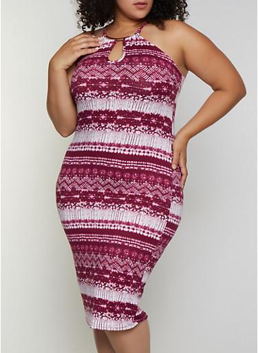 Plus Size Metallic Neck Detail Tie Dye Dress,WINE,large