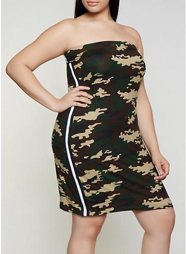 Plus Size Printed Tube Dress,OLIVE,large