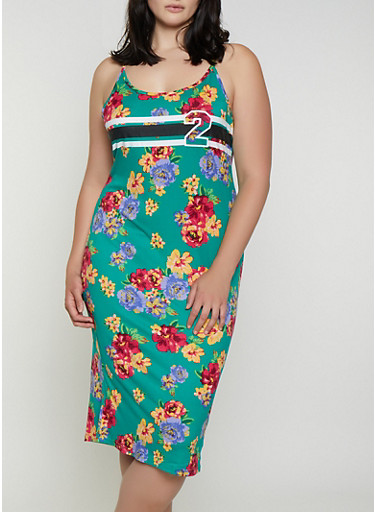 Plus Size Floral 2 Graphic Cami Dress,GREEN,large
