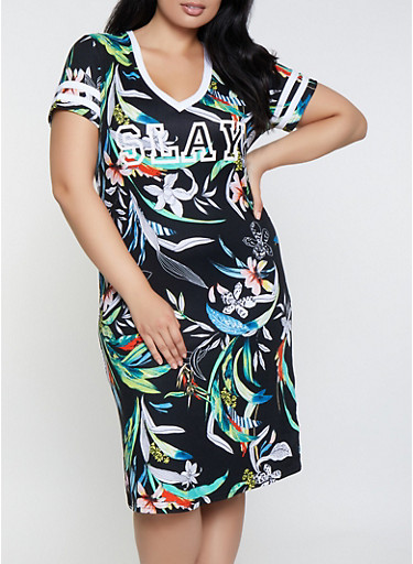 Plus Size Floral Slay T Shirt Dress,BLACK,large