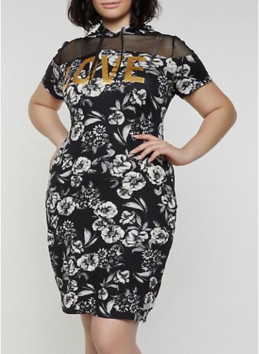 Plus Size Floral Fishnet Yoke Hooded T Shirt Dress,BLACK,large