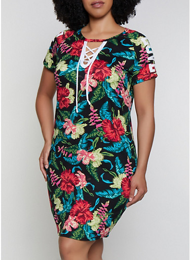 Plus Size Printed Lace Up Love Graphic Dress,BLACK,large