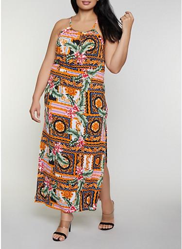 Plus Size Baroque Floral Maxi Dress,BLACK,large