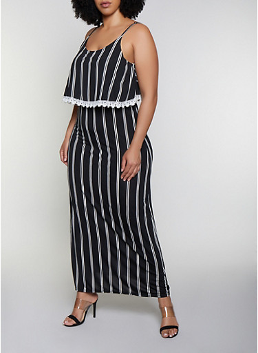 Plus Size Striped Overlay Cami Maxi Dress,BLACK/WHITE,large