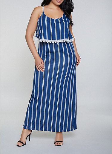 Plus Size Striped Overlay Cami Maxi Dress - Rainbow