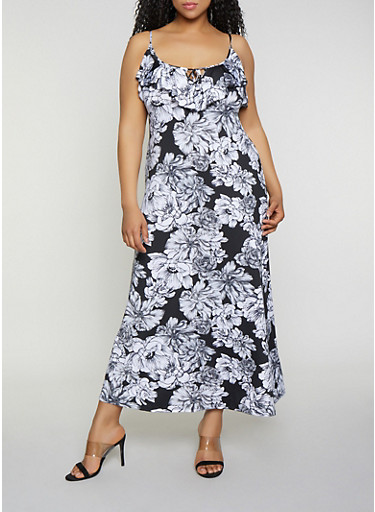 Plus Size Floral Ruffle Maxi Dress,BLACK/WHITE,large
