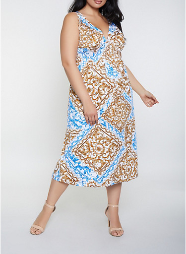Plus Size Double Strap Status Print Dress,RYL BLUE,large