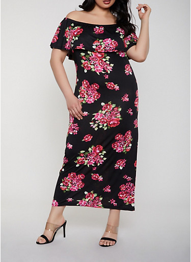 Plus Size Ruffled Off the Shoulder Floral Maxi Dress,BLACK,large