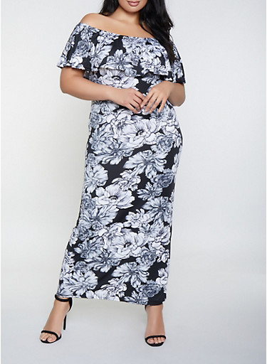 Plus Size Off the Shoulder Ruffle Floral Maxi Dress,BLACK,large