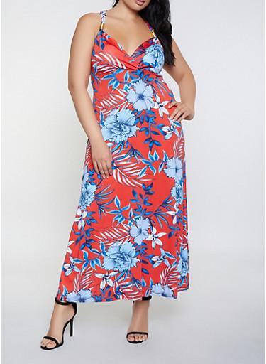 Plus Size Floral Metallic Strap Detail Maxi Dress,RED,large