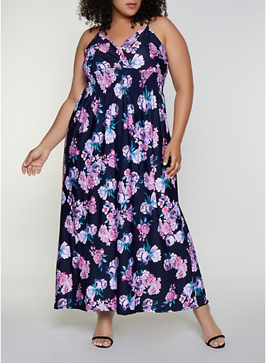 Plus Size Floral Smocked Empire Waist Dress,NAVY,large