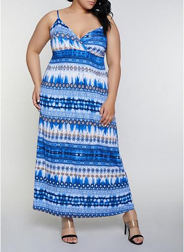 Plus Size Empire Waist  Printed Tie Dye Dress,NAVY,large