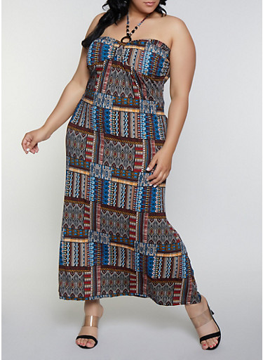 Plus Size Printed Halter Neck Maxi Dress,MULTI COLOR,large