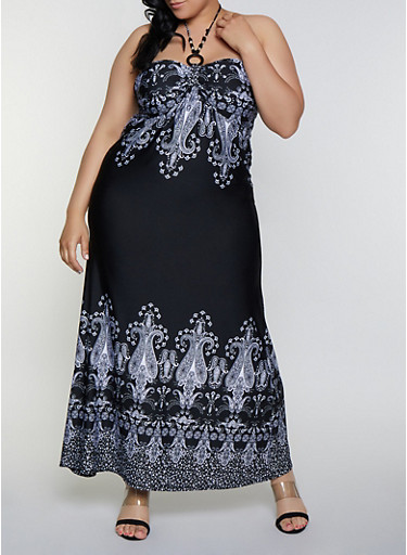 Plus Size Border Print Halter Dress,BLACK/WHITE,large